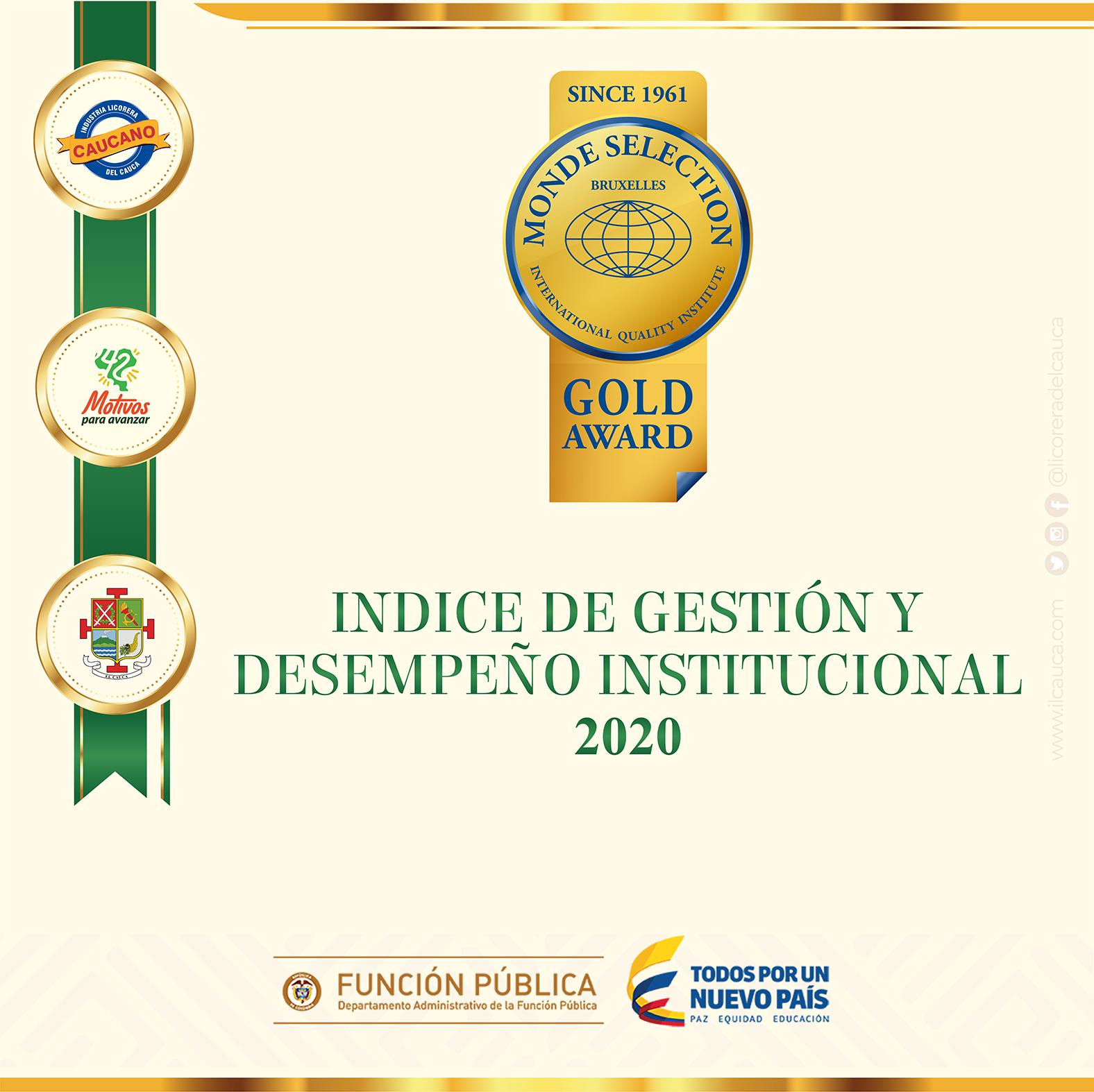Industria licorera del Cauca ocupa el primer lugar entre las licoreras del país, en el índice General de Desempeño Institucional, vigencia 2020