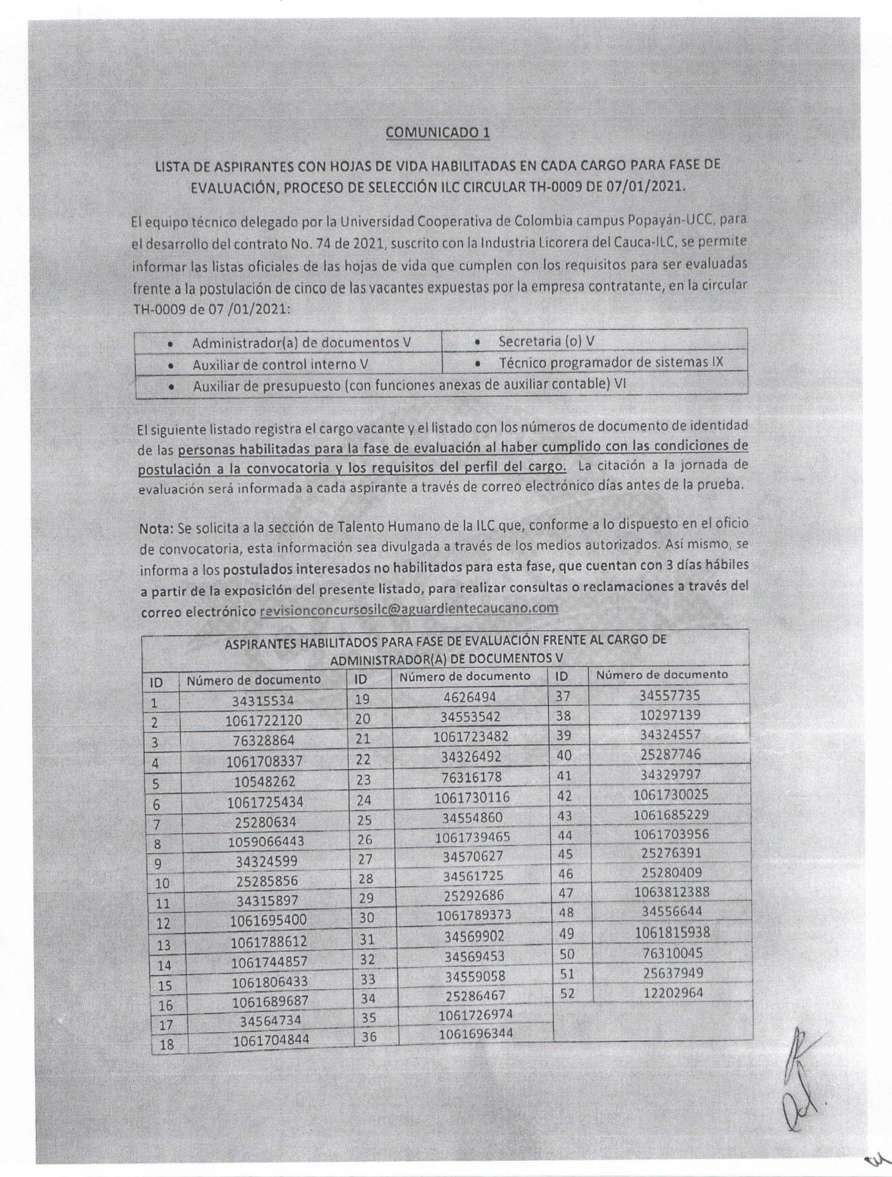 LISTADO DE ASPIRANTES HABILITADOS PARA PRESENTACIÓN DE PRUEBAS ( CONCURSO EXTERNO ILC).