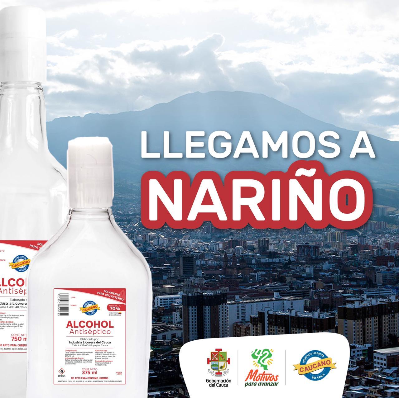 Industria Licorera del Cauca inició comercialización de alcohol antiséptico en Nariño